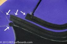 檢查黑點處 在浪人活動頻繁的接縫點 加強伸縮,貼心的設計 減低磨傷肌膚的功能性